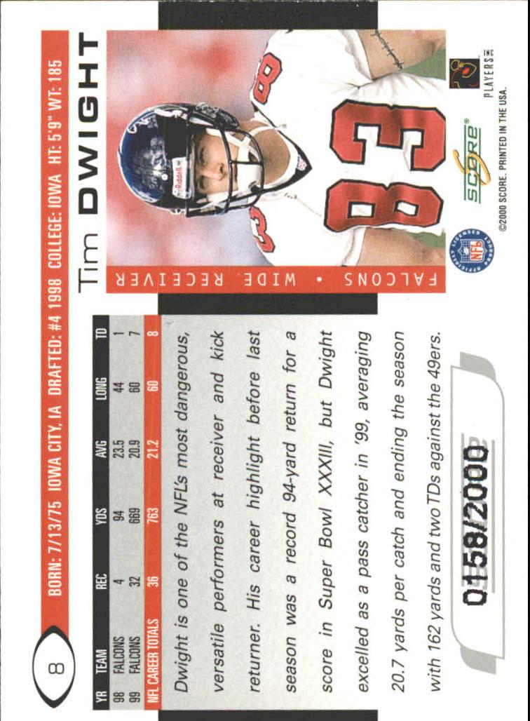 2000 Score Scorecard #8 Tim Dwight back image