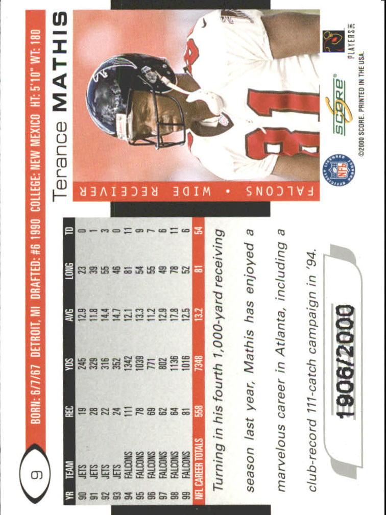 2000 Score Scorecard #9 Terance Mathis back image