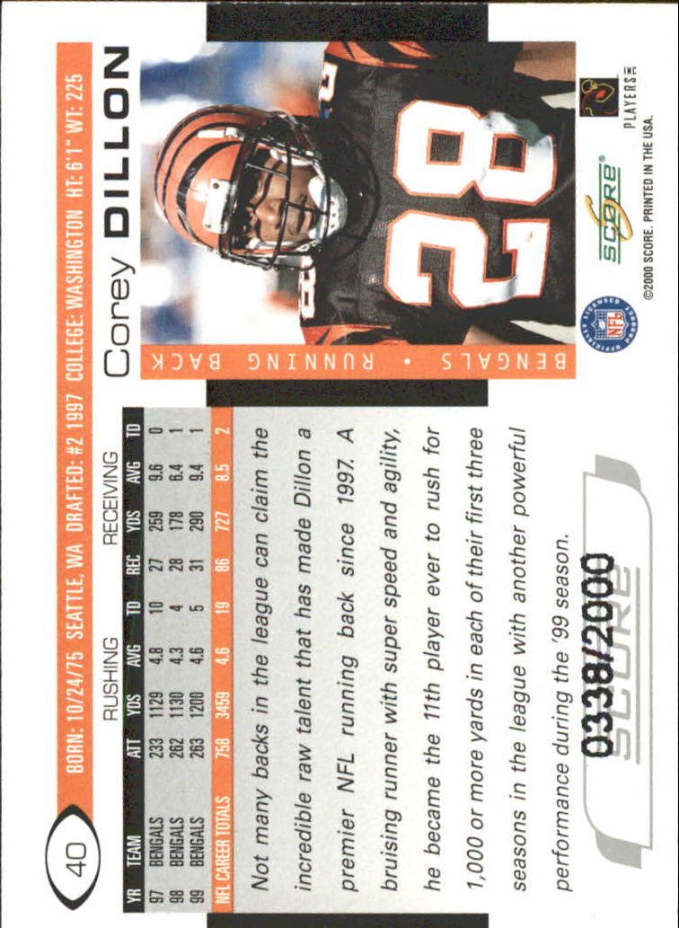 2000 Score Scorecard #40 Corey Dillon back image