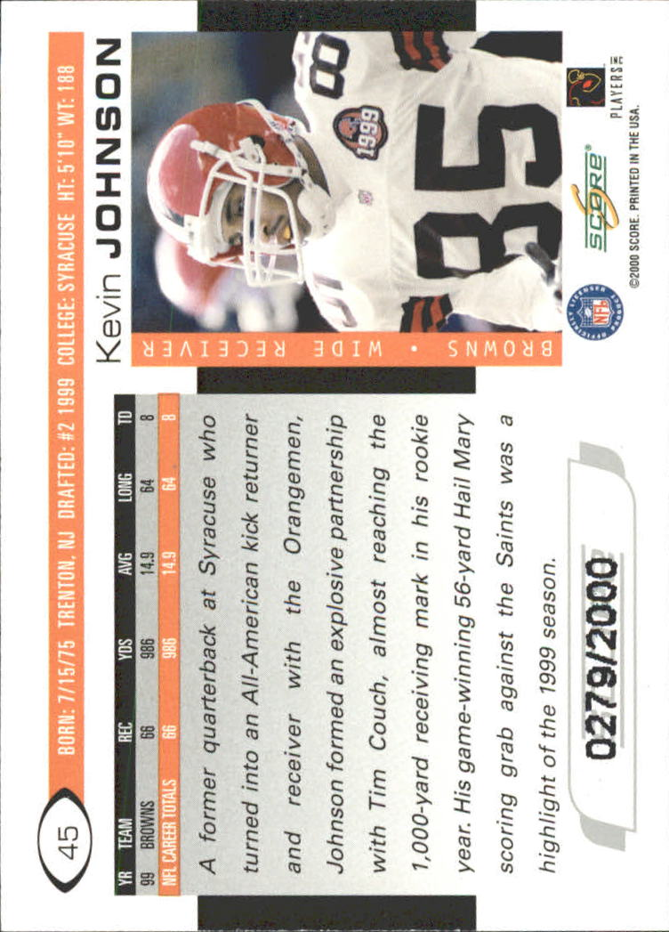 2000 Score Scorecard #45 Kevin Johnson back image