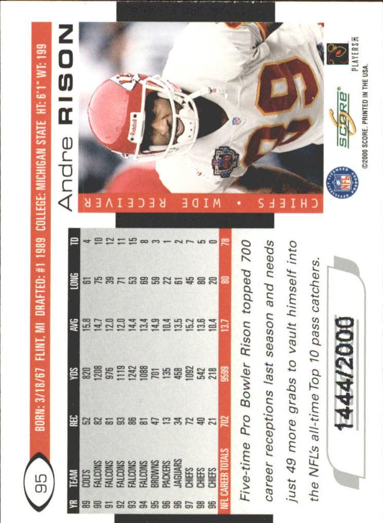 2000 Score Scorecard #95 Andre Rison back image