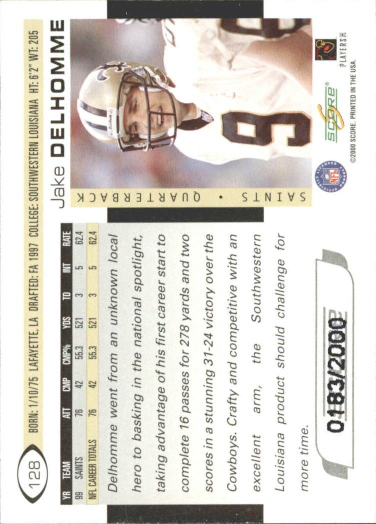 2000 Score Scorecard #128 Jake Delhomme back image