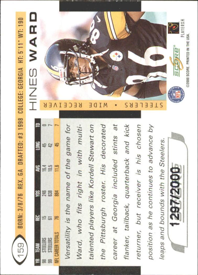 2000 Score Scorecard #159 Hines Ward back image