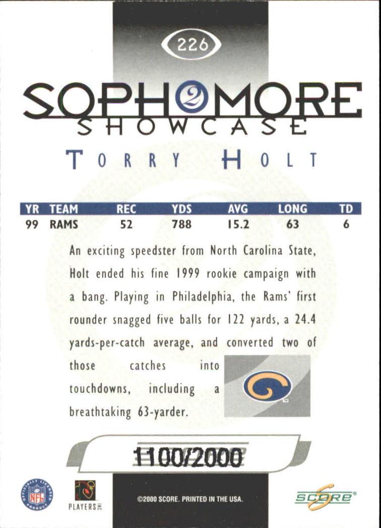 2000 Score Scorecard #226 Torry Holt SS back image