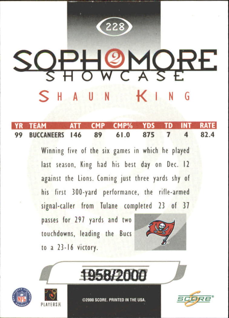 2000 Score Scorecard #228 Shaun King SS back image