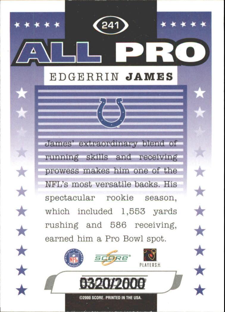 2000 Score Scorecard #241 Edgerrin James AP back image