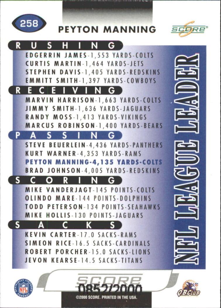 2000 Score Scorecard #258 Peyton Manning LL back image