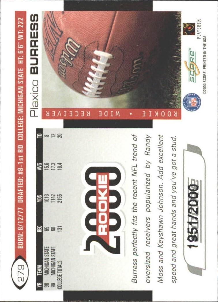 2000 Score Scorecard #279 Plaxico Burress back image