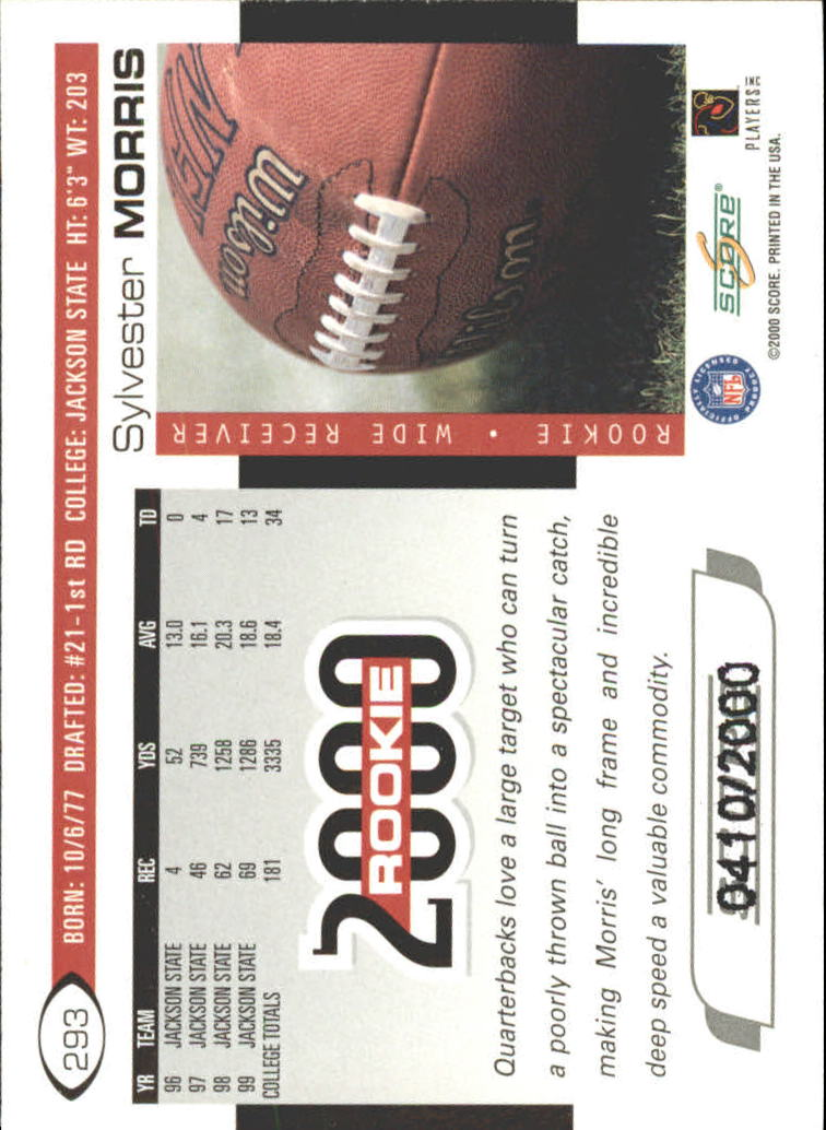 2000 Score Scorecard #293 Sylvester Morris back image
