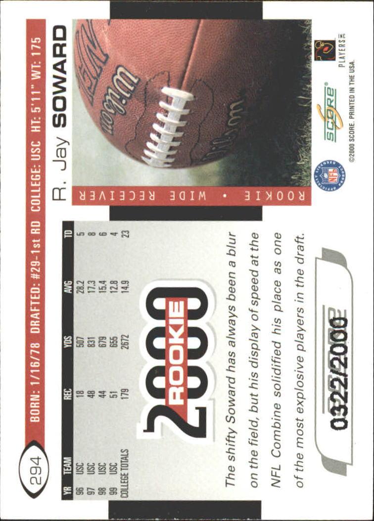2000 Score Scorecard #294 R.Jay Soward back image