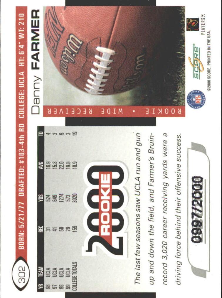 2000 Score Scorecard #302 Danny Farmer back image