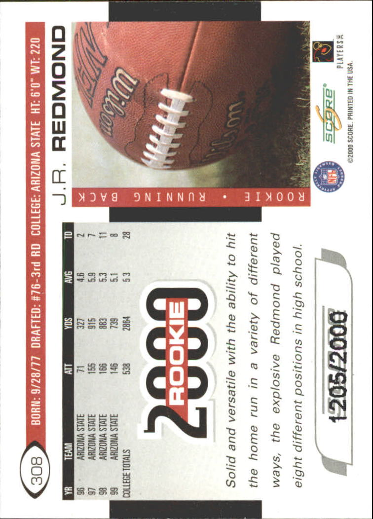 2000 Score Scorecard #308 J.R. Redmond back image