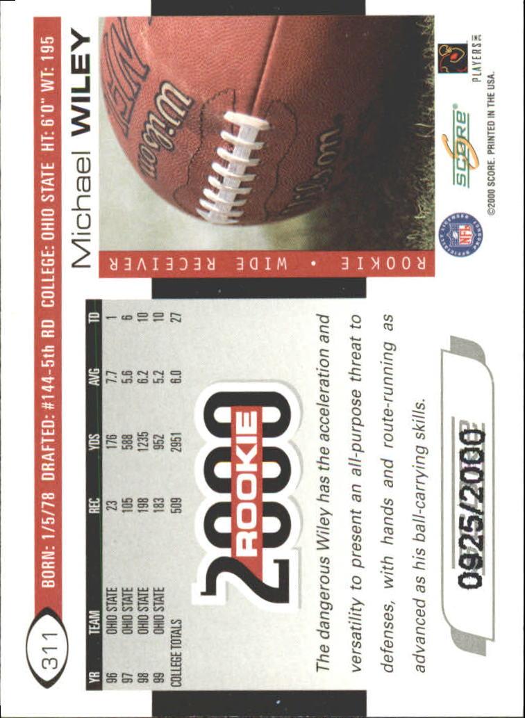 2000 Score Scorecard #311 Michael Wiley back image
