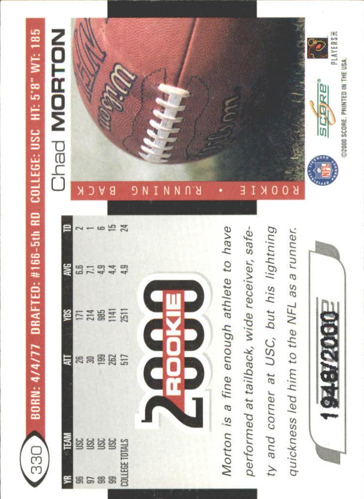 2000 Score Scorecard #330 Chad Morton back image