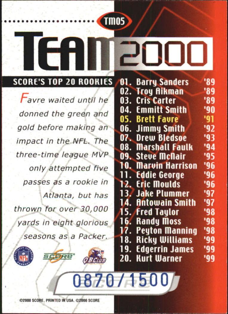 2000 Score Team 2000 #TM5 Brett Favre back image