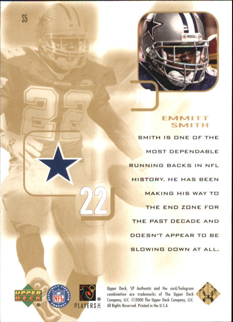 2000 SP Authentic Supremacy #S5 Emmitt Smith back image