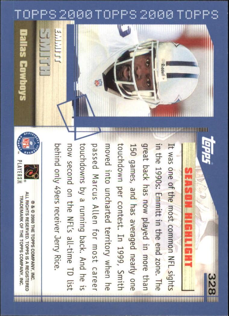 2000 Topps #328 Emmitt Smith HL back image