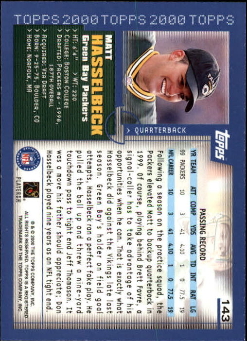 2000 Topps Collection #143 Matt Hasselbeck back image