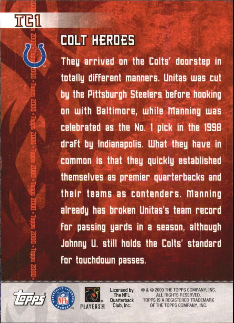 2000 Topps Combos #TC1 J.Unitas/P.Manning back image