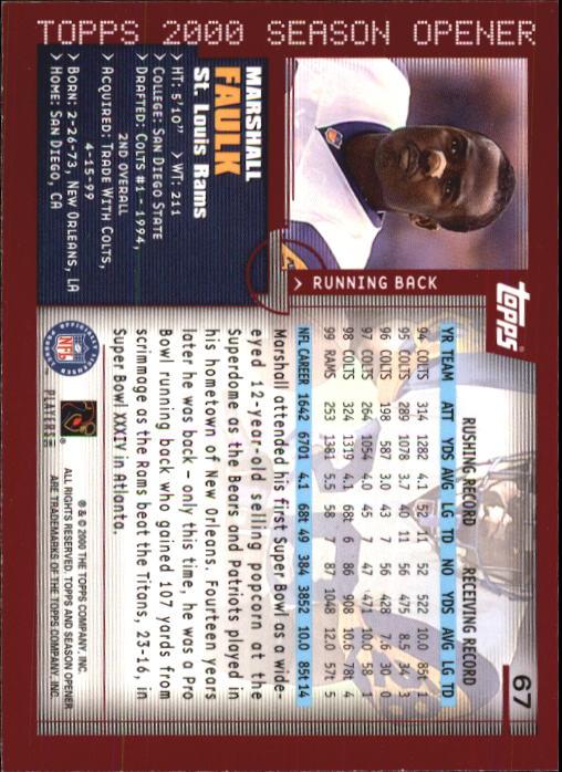 2000 Topps Season Opener #67 Marshall Faulk back image