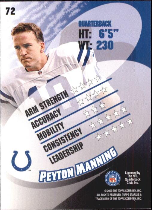 2000 Topps Stars #72 Peyton Manning back image