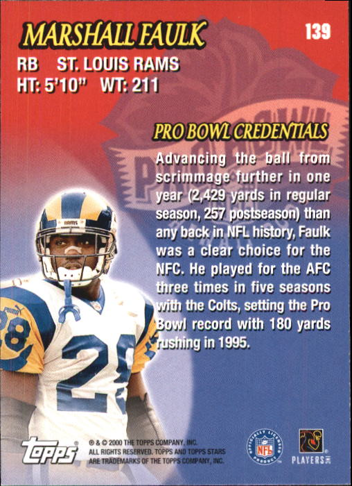 2000 Topps Stars #139 Marshall Faulk HH back image