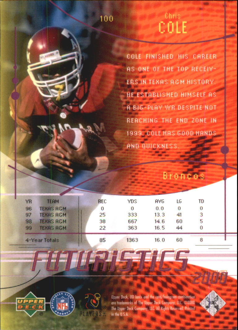2000 UD Ionix #100 Chris Cole RC back image