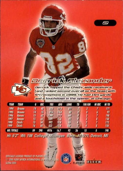 2000 Ultra #2 Derrick Alexander back image