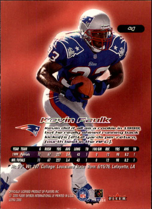 2000 Ultra #4 Kevin Faulk back image