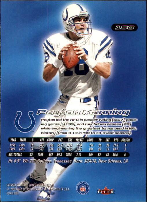 2000 Ultra #150 Peyton Manning back image