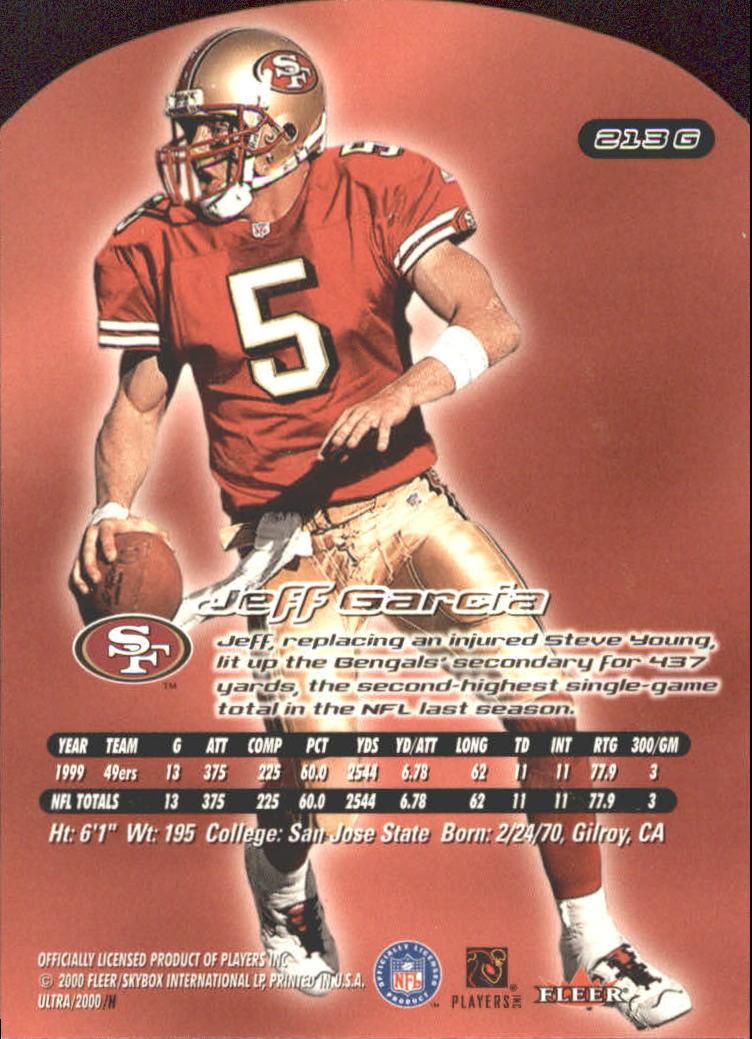2000 Ultra Gold Medallion #213 Jeff Garcia back image