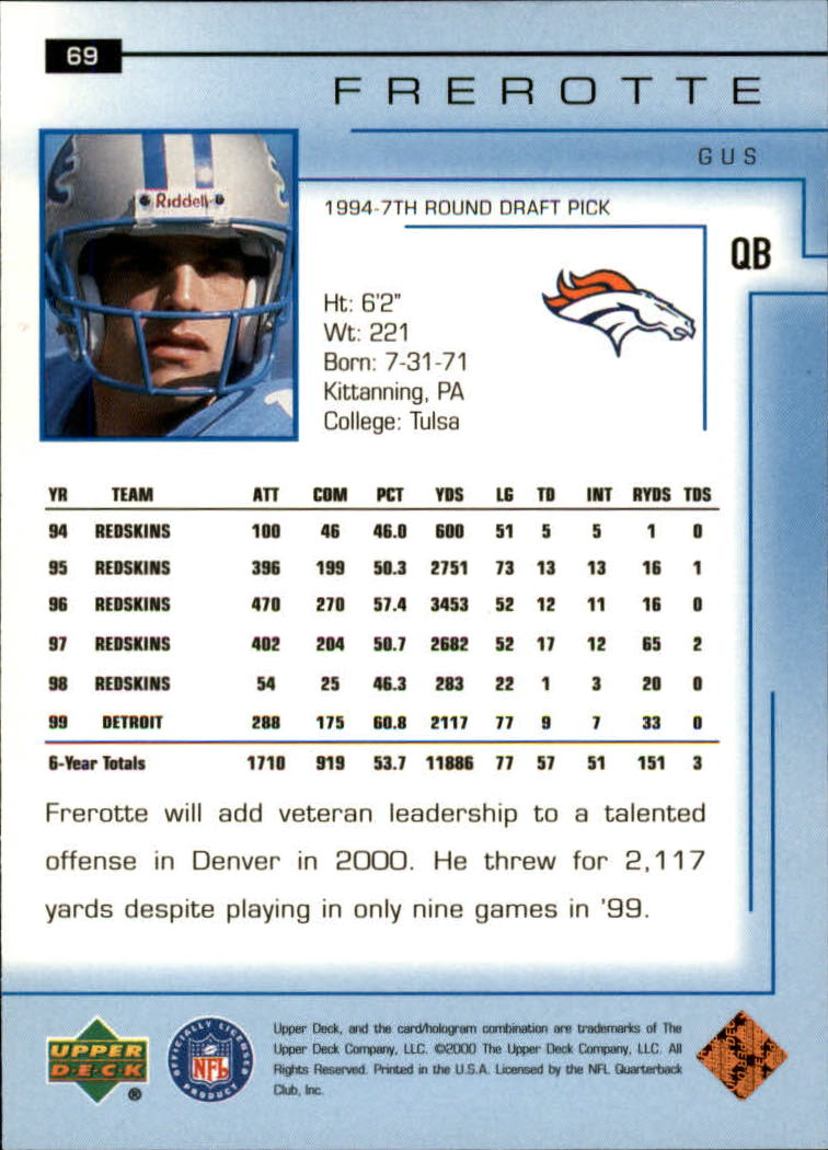 2000-Upper-Deck-Football-Card-039-s-1-200-You-Pick-Buy-10-cards-FREE-SHIP thumbnail 99