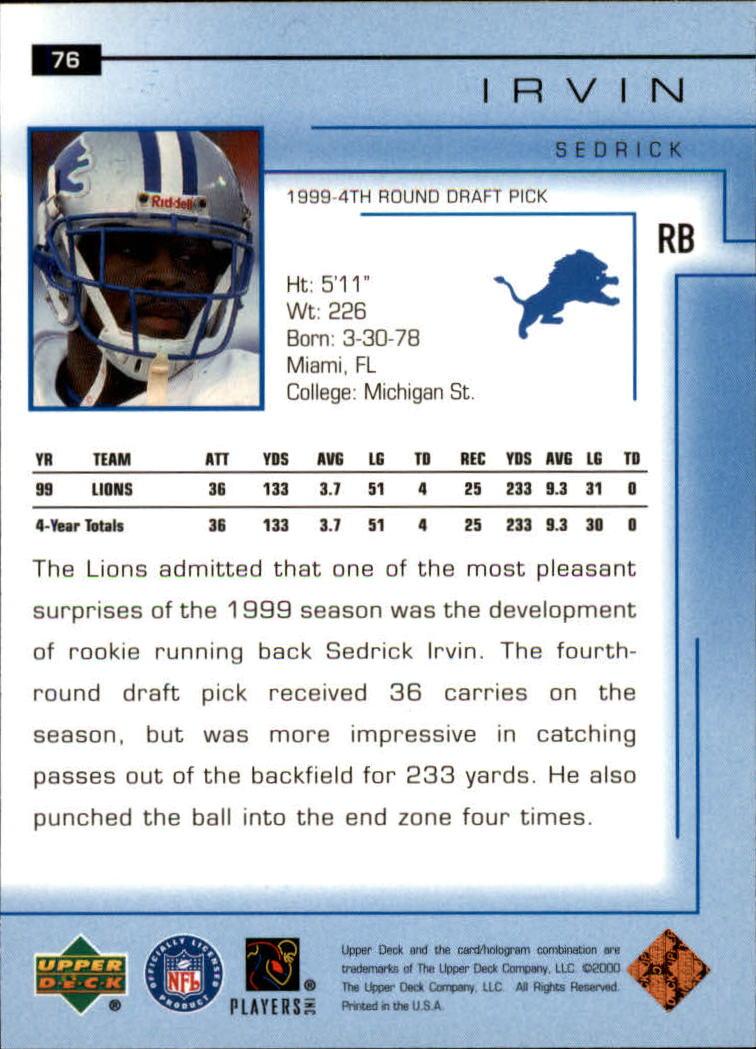 2000-Upper-Deck-Football-Card-039-s-1-200-You-Pick-Buy-10-cards-FREE-SHIP thumbnail 111
