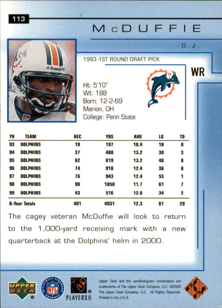 2000-Upper-Deck-Football-Card-039-s-1-200-You-Pick-Buy-10-cards-FREE-SHIP thumbnail 149