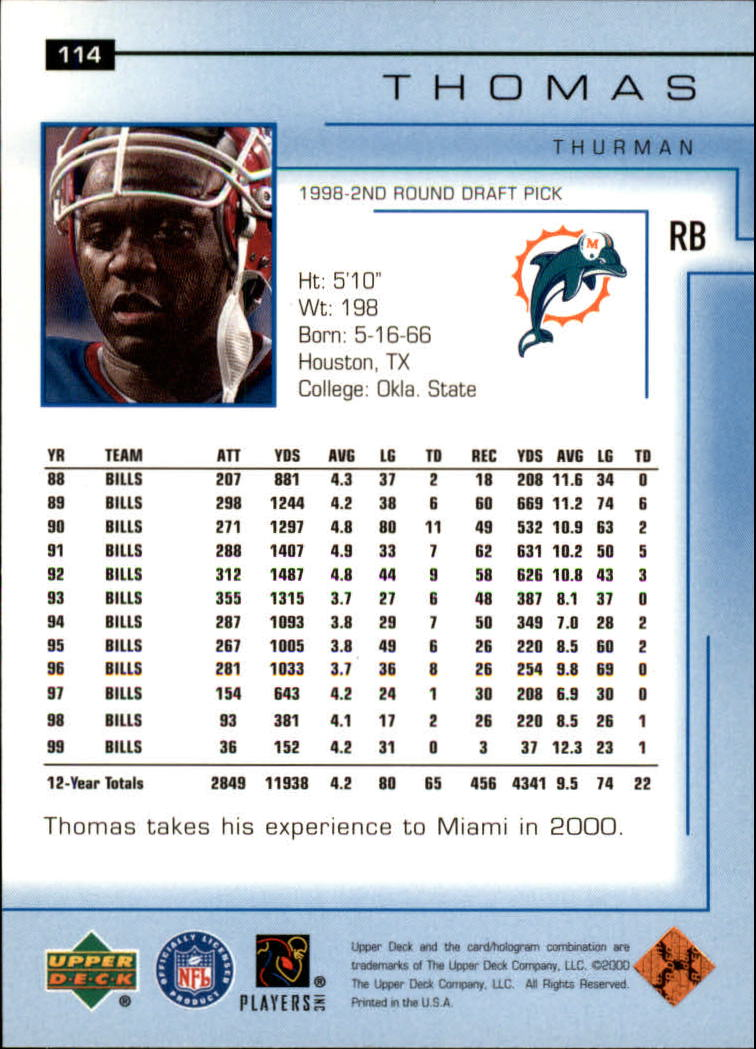 2000-Upper-Deck-Football-Card-039-s-1-200-You-Pick-Buy-10-cards-FREE-SHIP thumbnail 151
