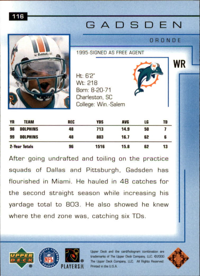 2000-Upper-Deck-Football-Card-039-s-1-200-You-Pick-Buy-10-cards-FREE-SHIP thumbnail 155