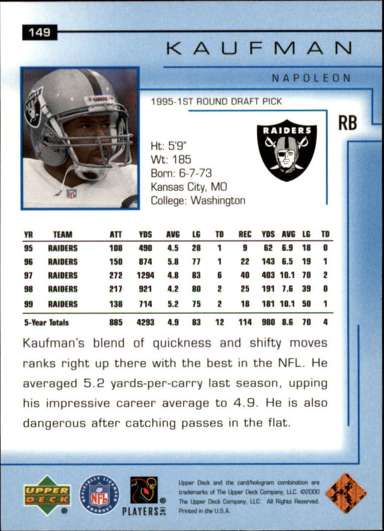 2000-Upper-Deck-Football-Card-039-s-1-200-You-Pick-Buy-10-cards-FREE-SHIP thumbnail 195