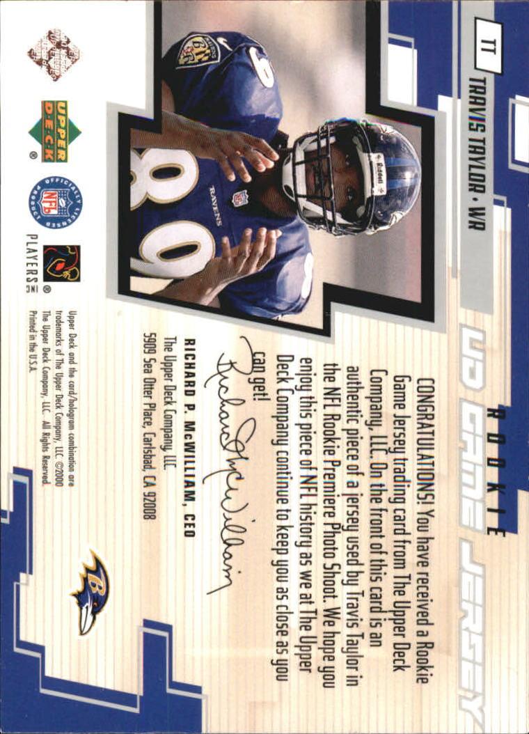 2000 Upper Deck Game Jersey #TT Travis Taylor back image