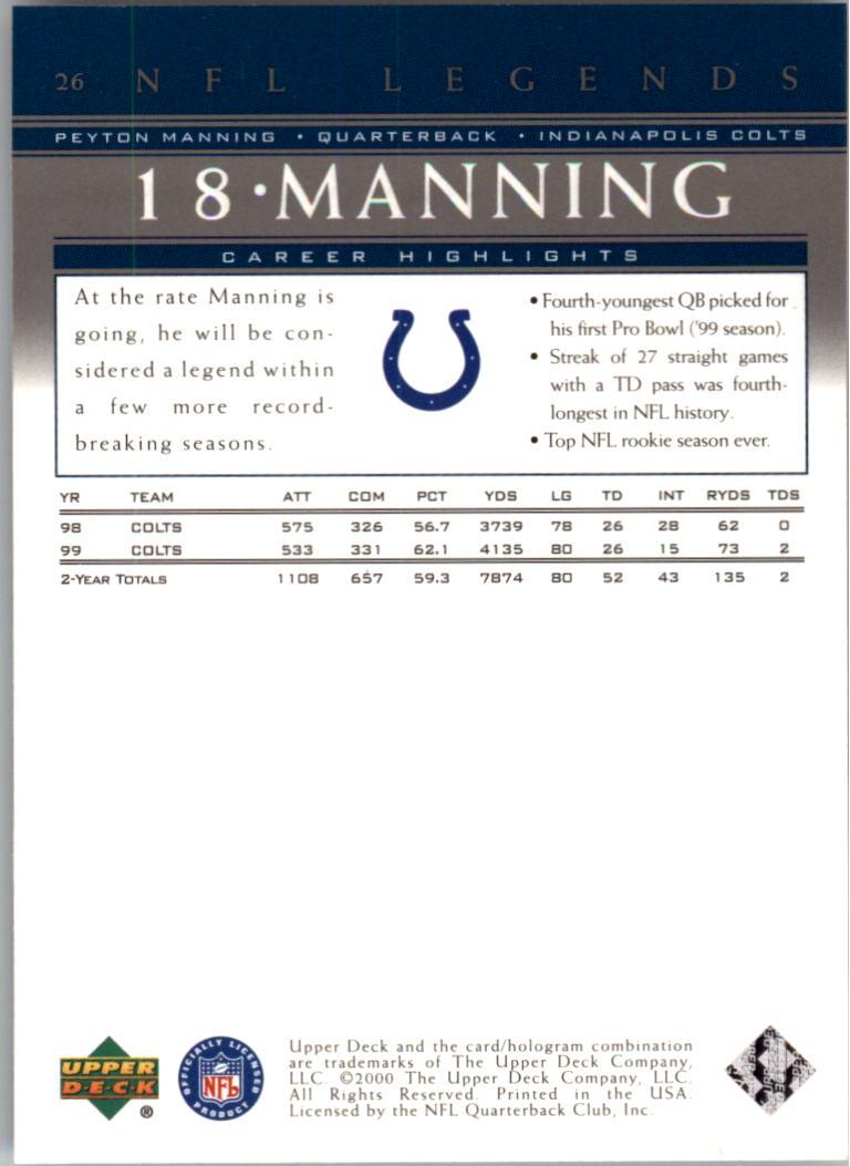 2000 Upper Deck Legends #26 Peyton Manning back image