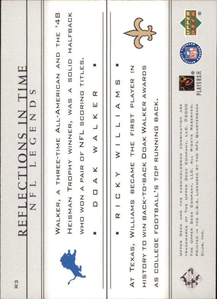 2000 Upper Deck Legends Reflections in Time #R3 D.Walker/R.Williams back image