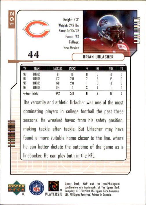 2000 Upper Deck MVP #192 Brian Urlacher RC back image
