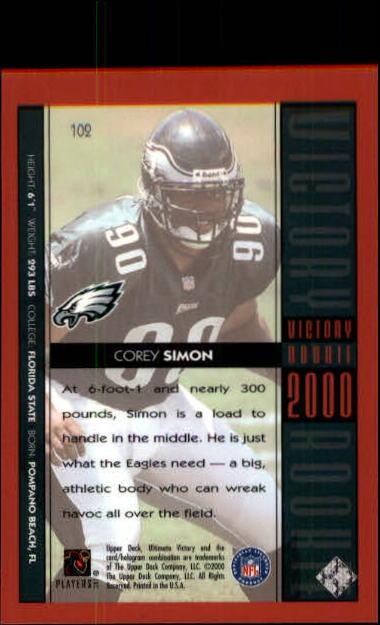 2000 Ultimate Victory #102 Corey Simon RC back image