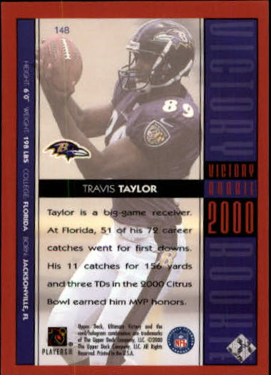 2000 Ultimate Victory #148 Travis Taylor RC back image
