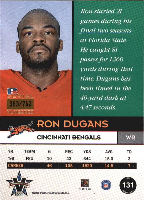 2000 Vanguard #131 Ron Dugans RC back image