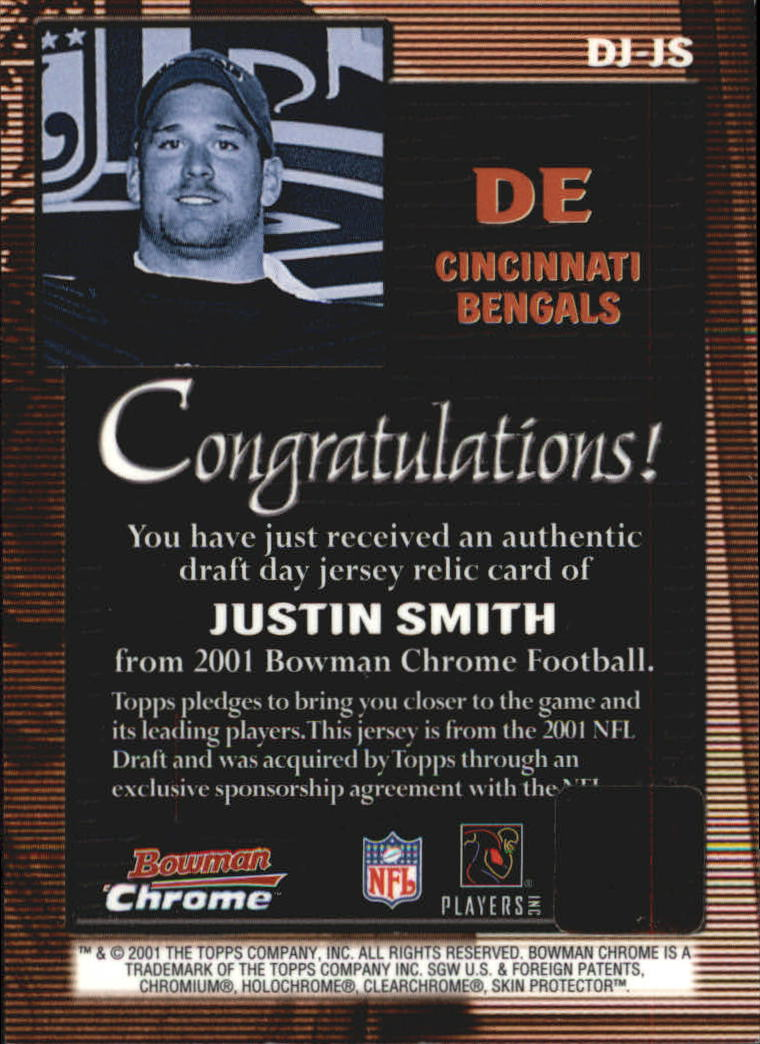 2001 Bowman Chrome Draft Day Relics #DHJS Justin Smith Cap