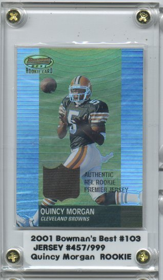 2001 Bowman's Best #103 Quincy Morgan JSY RC