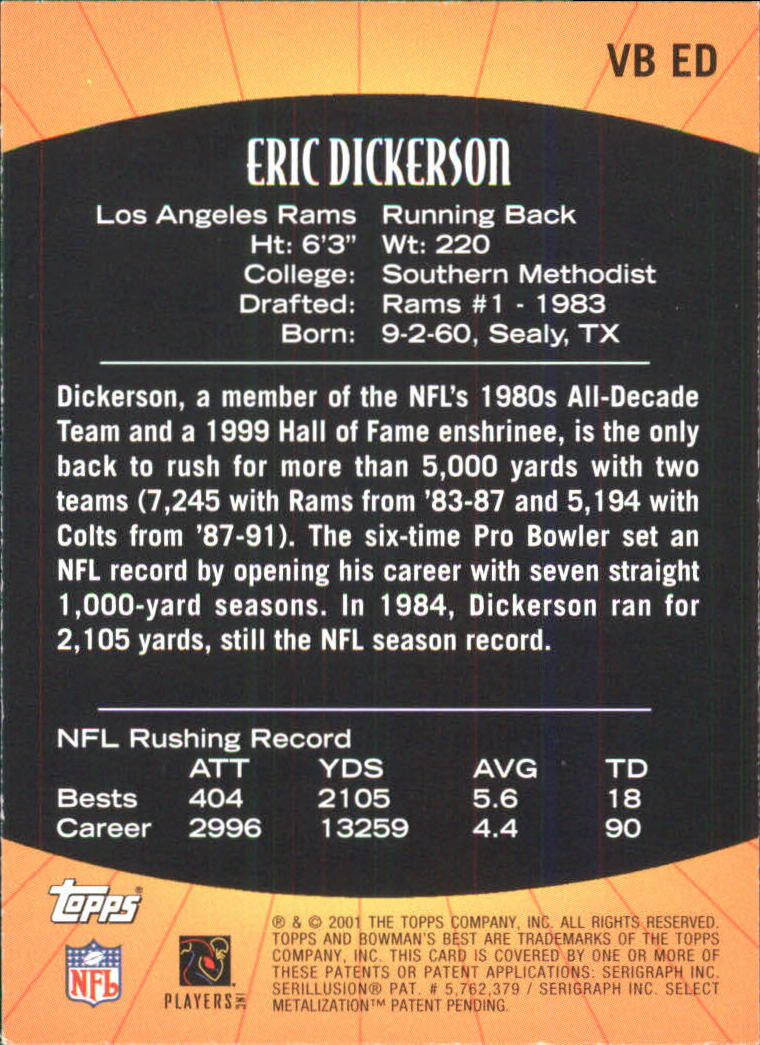 2001 Bowman's Best Vintage Best #VBED Eric Dickerson back image