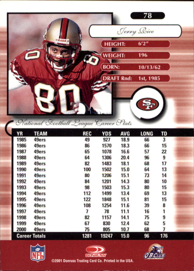 2001 Donruss Elite #78 Jerry Rice back image