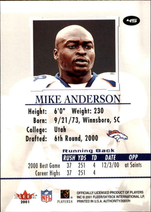 2001 Fleer Authority #45 Mike Anderson back image