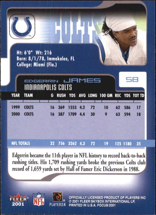 2001 Fleer Focus #58 Edgerrin James back image